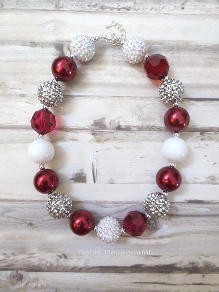 Burgundy White Silver Bead Necklace