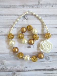 Pearl and Gold Necklace and Bracelet