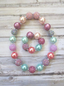 Pink and Ivory Bead Necklace and Bracelet