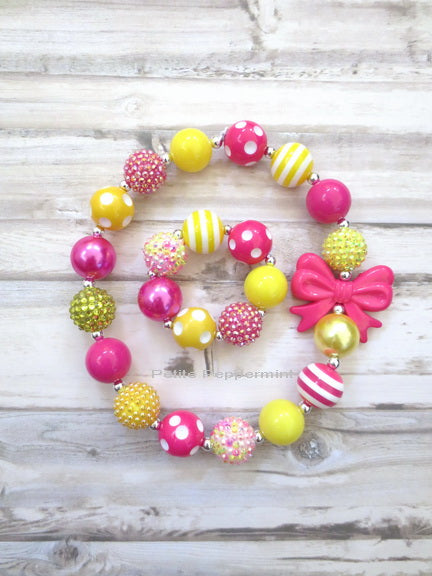 Hot Pink and Yellow Necklace and Bracelet