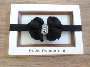 Black Baby Bow headband, baby girl headband, newborn headband, toddler headband, Baby Headband Bow, Black Girl hair bow
