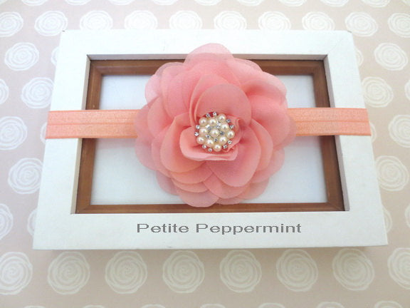 Peach Coral Baby headband, baby girl headband, newborn headband, infant headband, Baby Hair Bow,Baby Flower Headband, Toddler Headband