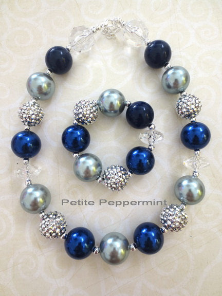 Navy Blue Silver Toddler Chunky Necklace, Baby Chunky Necklace,Children Necklace,Girl Chunky Necklace,Chunky Bead Necklace,Toddler Jewelry
