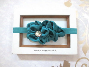 Teal Baby Headband, Baby head band flower, newborn headband, infant headband, toddler headband, girl hair bow, teal baby hair bow