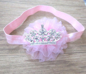 Pink Baby Headband, Birthday Headband, Baby Hairbow, Tiara Baby Headband, Toddler Headband, Infant Headband, Newborn Headband,Crown headband