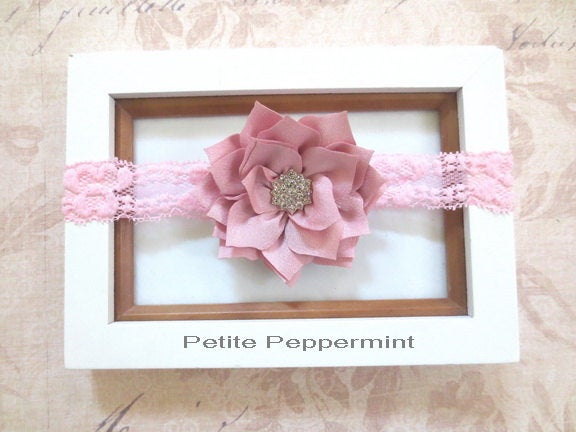 Mauve Baby Headband, infant headband, toddler headband, Baby Flower Headband, Baby Hair Bow, Newborn head band, dusty rose baby hair bow