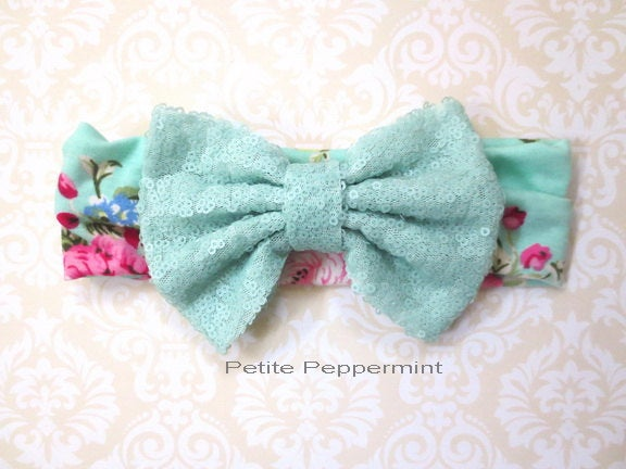 Aqua Sequin Bow head wrap