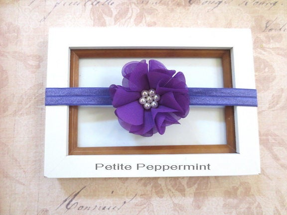 Purple Baby Headband, Baby Headband Flower, Toddler Headband, Newborn Headband, Infant Headband, Baby Hair Bow, Girl Hair bow, girl headband