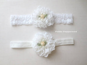 White baby headband, baby flower headband, newborn headband, toddler headband, girl headband, baby hair bow, infant head band lace