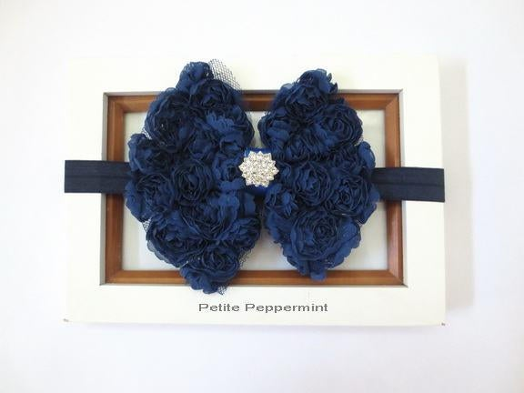 Navy Blue Baby Headband, Baby Hair Bow, Newborn headband, toddler headband, girl hair bow headband, infant head band,