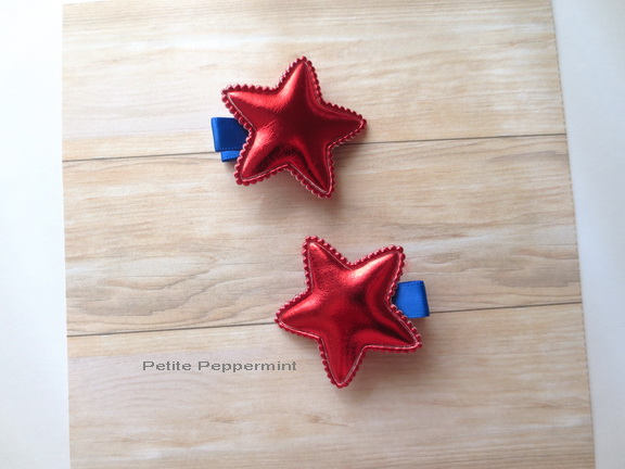 Red Blue Star Baby Hair Clip,Baby Girl Hair Clip,Toddler Hair Clip,Girl Hair Clip,Girl Hair Bow,Toddler Girl Hair Bow,Toddler Hair Bow