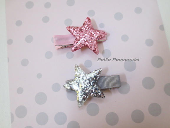 Pink and Silver Star Girl Hair Clip Set, Toddler Girl Hair Clip, Toddler Hair Clip, Girl Hair Clip,Girl Hair Bow,Girl Barrette,Hair Clip Set