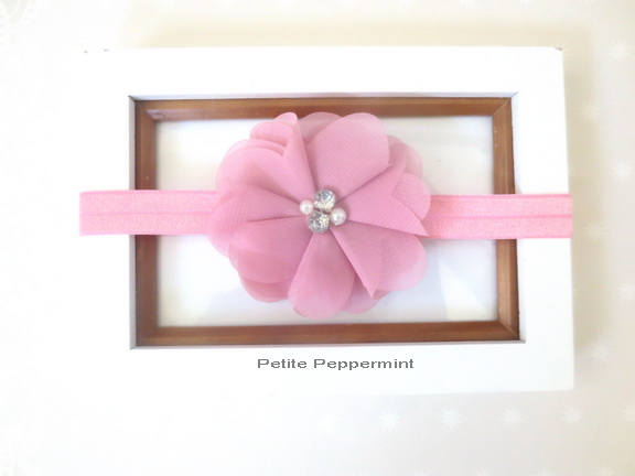 Dusty Rose Baby Headband, baby Hair Bow, Baby Flower Headband, Infant Headband, Toddler Headband, newborn headband, girl hair bow