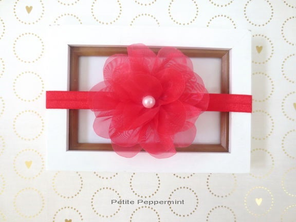 Red baby headband, girl hair bow, toddler headband, newborn headband, infant headband, baby girl headband, red baby hair bow, girl head band