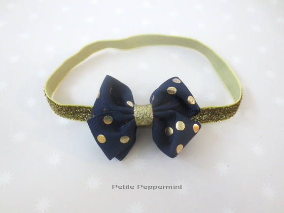 Navy Blue Gold Baby Headband, baby girl headband, newborn headband, toddler headband,Baby Girl Bow Headband,Baby Hair Bow, Baby Head Band