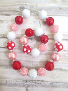 Valentine Girl Necklace,Baby Chunky Necklace,Toddler Jewelry,Girl Bead Necklace,Girls Bubblegum Necklace,Pink Red White Bead Necklace