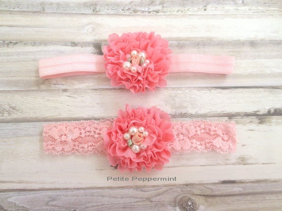 Pink Coral Baby Headband, Baby head band, Newborn Headband Toddler Headband, Pink Baby Flower Headband,Pink Baby Girl Headband,Pink Baby Bow