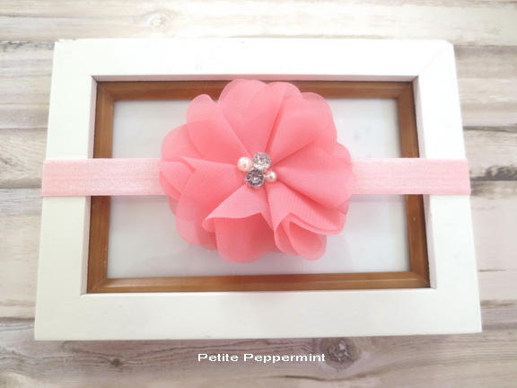 Pink Coral Baby bow headband, baby headband, Newborn headband, Baby Hair Bow, Toddler Headband, Girl Bow Headband
