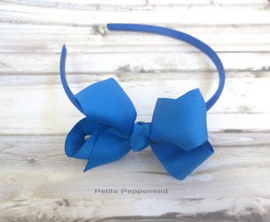 Royal Blue Baby bow headband, baby headband, royal blue girl headband,toddler hard headband,girl hair bow,girl bow headband, girl hair band