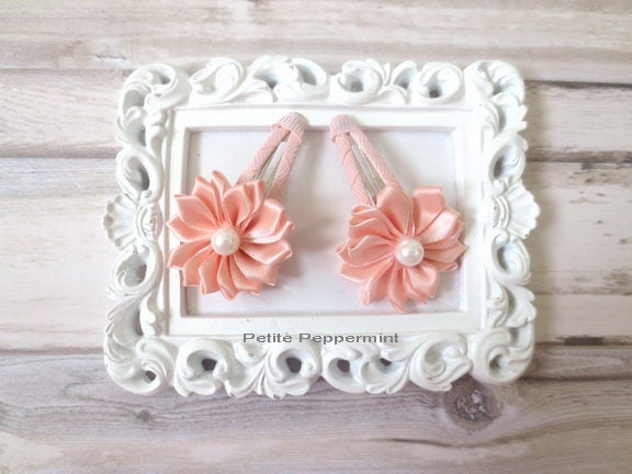 Peach Toddler Hair Clip,Toddler Hair Bow,Girl Hair Clip,Girl Hair Bows,Little Girl Hair Bows,Little Girl Hair Clips,Toddler Snap Clips