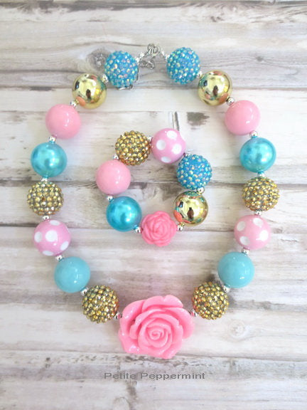 Pink Turquoise Gold Baby Necklace, Girl Bracelet, Flower Girl Necklace, Necklace for Girls, Toddler Necklace, Girl Necklace, Girl Jewelry