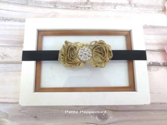 Black Gold Baby headband, baby girl headband, newborn headband, toddler headband, baby head band, gold girl hair bow, infant headband