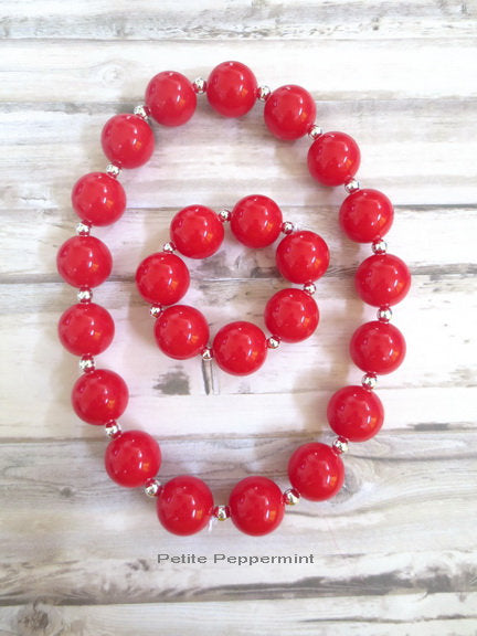 Red Baby Necklace Little Girls Necklace Set, Toddler Necklace, Red Girl Bracelet, Girl Necklace, Children Necklace, No Clasp Necklace