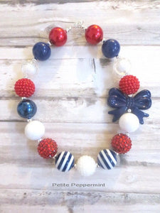 Red White Blue Toddler Necklace, Girls Bubblegum Necklace, Baby Necklace, Girls Bead Necklace, Children Necklace, Fourth Of July Necklace