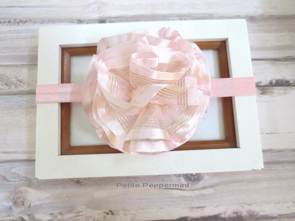 Baby headband, pink flower headband, newborn headband, girl hair bow, pink baby head band