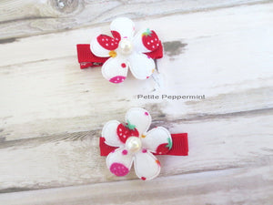 Set of Two Red Strawberry Baby Hair Bow, Baby Hair Clip, Toddler Hair Clip, Little Girl Hair Clip, Girl Hair Clip, No Slip Baby Hair Bow