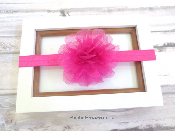 Hot Pink Flower Baby Headband, baby head band lace, toddler bow headband, girl hair bow, infant headband, newborn headband, baby hair bow