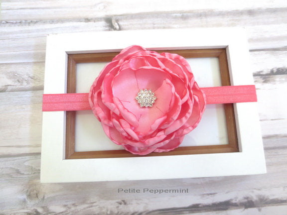 Pink Coral Baby Headband, Baby Head band flower, Baby Hair Bow, Baby Girl Headband,Newborn Headband, Pink Coral Girl Hair Bow