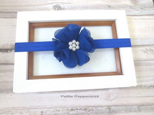 Royal Blue Baby Headband, Newborn Headband, girl hair bow, small flower head band, infant, toddler headband, baby head band flower