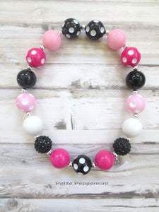 Baby necklace, girl necklace, toddler necklace, pink and black baby necklace, girl jewelry, children jewelry, toddler chunky necklace