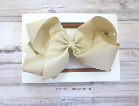 Baby headband, Beige baby head band, Baby headband bow, big bow headband, toddler hair bow, girl hair bow, newborn, infant headband