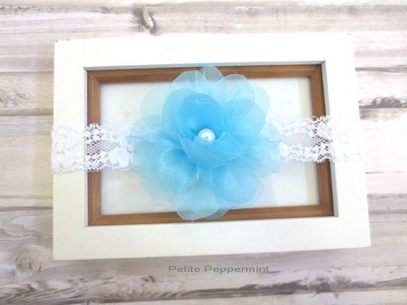 Baby Headband, baby head band flower, baby headband lace, newborn headband, turquoise flower girl hair bow