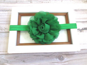 Green Baby headband, baby girl head band, newborn headband, toddler headband, girl headband, baby hair bow, toddler hair bow, girl bow clip