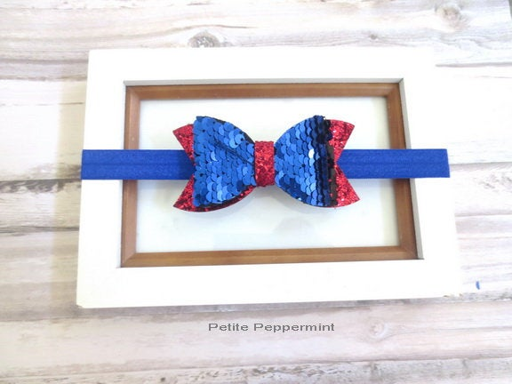 Royal Blue Red Baby Headband, Sequin Hair Bow, newborn headband, infant headband, girl hair bow, baby headband bow, baby hair bow