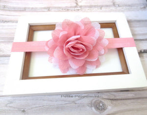 Baby Headband, Pink Flower Headband, Pink baby hair bow, newborn headband, girl hair bow,infant headband, baby head band