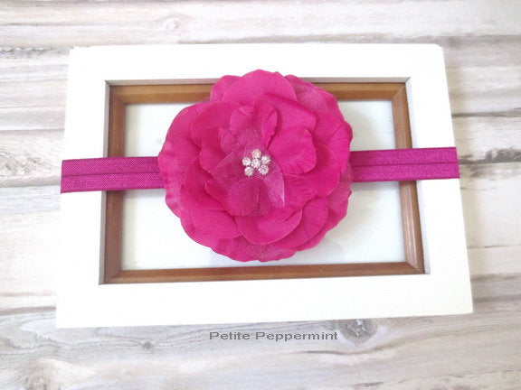 Baby Headband,Baby Bow Headband,Baby Head Band,Toddler Headband,Little Girl Headband,Infant Headband,Fuschia Baby Flower Headband