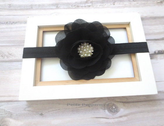 Black Baby headband, newborn flower headband, black girl hair bow, infant, toddler headband, blach baby hair bow, baby head band
