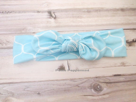 Light Blue Top knot headband,Baby headband, Knot baby head wrap,Knot Headband,Baby Turban,Baby Head Wrap,Tie Knot Baby Headband