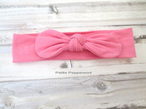 Pink Baby headband, baby girl headband, baby head wrap, baby headband bow, top knot headband, knotted bow headband, baby hair bow