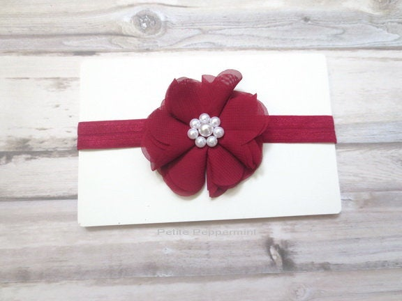 Burgundy baby headband, baby head band bow, newborn headband, toddler headband, baby hair bow, girl headband, dark red hair bow