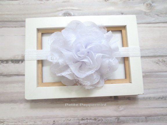 Baby headband, baby girl headband, baptism headband, white baby hair bow, girl headband, newborn headband, infant headband