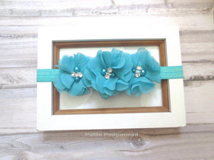 Baby headband, girl hair bow, newborn headband, toddler head band, newborn, infant headband, baby girl head band, turquoise hair bow