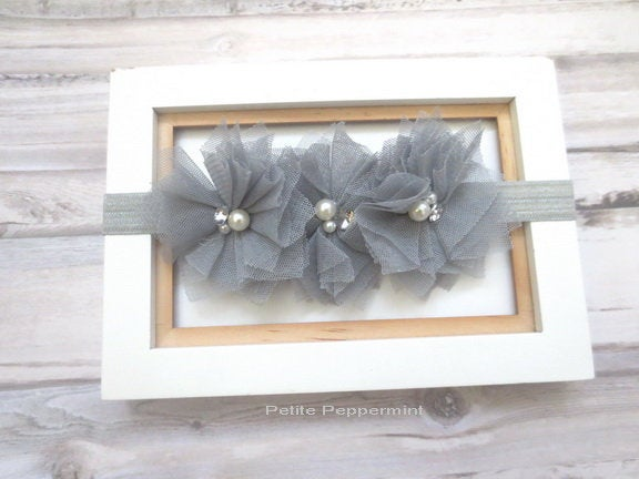 Gray Baby headband, baby girl headband, newborn headband, toddler headband, grey girl hair bow, baby hair bow, baby head band flower