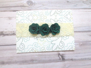 Green Baby headband, newborn headband, infant headband, toddler headband, Baby Headband lace, dark green flower headband