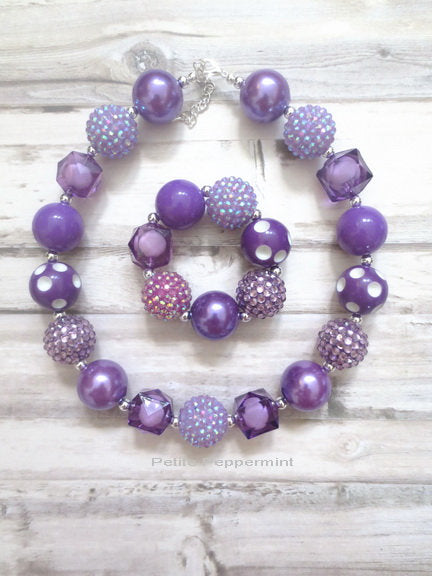 Purple Baby Necklace, Girl Bracelet, Necklace for kids, Baby Chunky Necklace, Girl Necklace Set