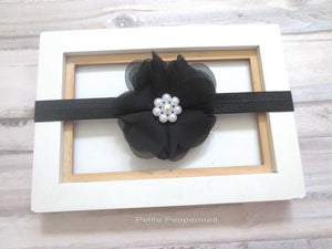Black baby headband, baby bow headband, black newborn headband, baby head band bow, girl hair bow, infant, toddler hair bow